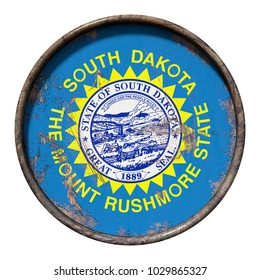 3d rendering of a South Dakota State flag over a rusty metallic plate. Isolated on white background.