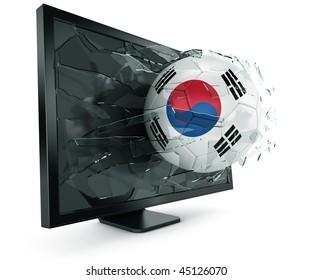 3d rendering of a South korean soccerball breaking through monitor
