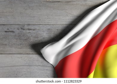 3d rendering of South Ossetia flag over a wooden surface
