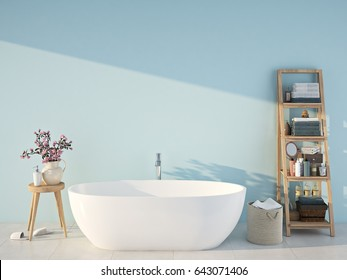 3d rendering. spa bathroom with blue wall