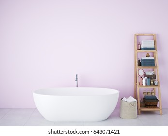 3d rendering. spa bathroom with rose wall