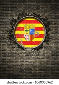 3d rendering of a Spanish Aragon community flag over a rusty metallic plate embedded on an old brick wall