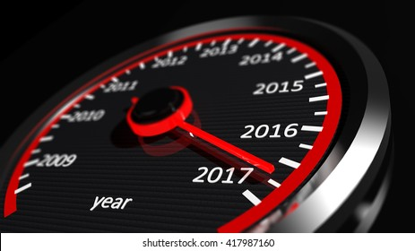 3D rendering of speedometer with 2017 closeup, on black background.