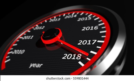 3D rendering of speedometer with 2018 closeup, on black background