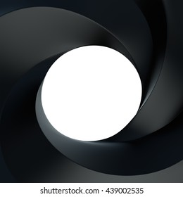 3D Rendering of Spiral frame and hole black color front view with copy space for text, isolated on white background.