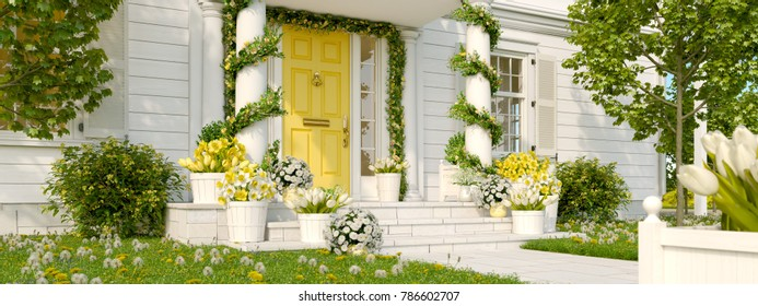 3d rendering. spring decorated porch with tulips and other flowers.