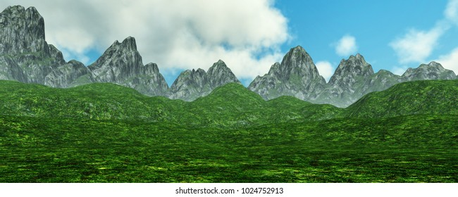 3D rendering of a spring mountains landscape