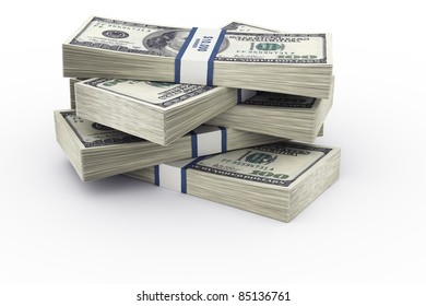 3d rendering of a stack of 100 dollar bills.
