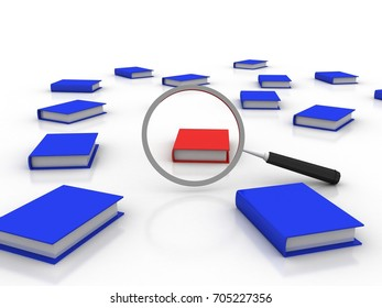 3d rendering Stack of books with magnifier