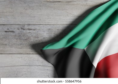 3d rendering of State of Kuwait flag waving on wooden background