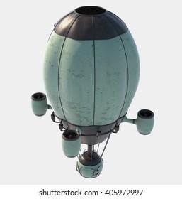 3D rendering steampunk air baloon