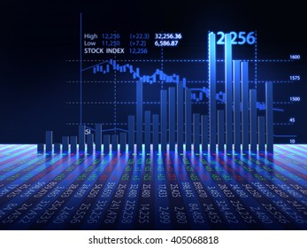 3d rendering of stock market chart on reflective surface