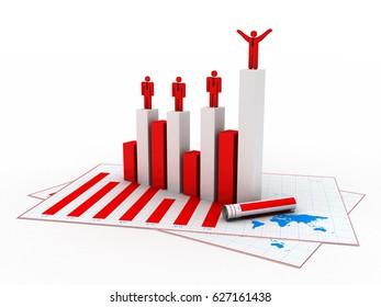 3d rendering Stock market online business concept. business Graph successful business team