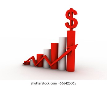 3d rendering Stock market online business concept. business Graph with dollar