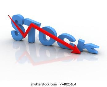 3d rendering Stock market online business concept. stock business Graph