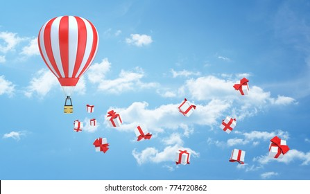 3d rendering of a striped red and white hot air balloon flies in the sky leaving a trail made of many gift box. Holiday period. Gifts from travel. Sale and bonuses.