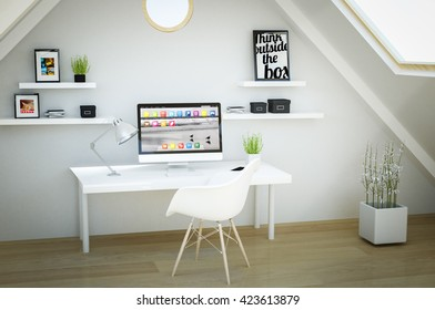 3d rendering of studio in a loft. All screen graphics are made up