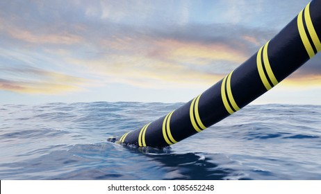 3d rendering of a submarine cable being installed