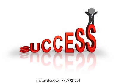 3d rendering of success concept