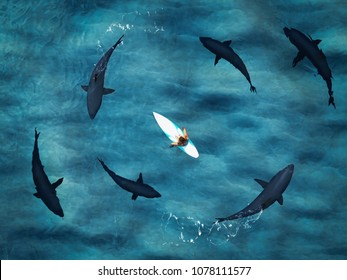 3d rendering. surfer surrounded from six sharks. top view
