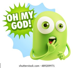3d Rendering Surprise Character Face Emoticon saying Oh My God with Colorful Speech Bubble.