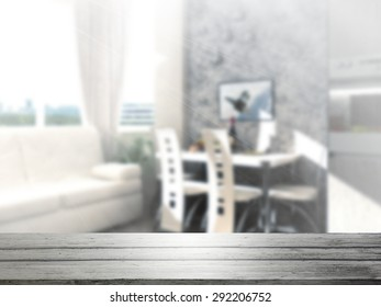 3D Rendering  Table Top And Blur Interior of Background