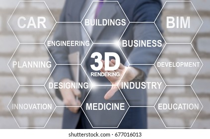 3D Rendering Tag Cloud Designing Business Industry Health Care Buildings Engineering concept. Man presses 3d rendering text button on virtual touch screen.