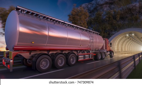 3d rendering of a Tanker Going through a Tunnel at Dark
