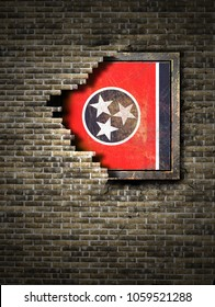 3d rendering of a Tennessee State flag over a rusty metallic plate embedded on an old brick wall