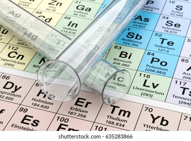 3D Rendering of Test Tubes on Periodic Table Background