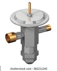 3D rendering of a Thermal Expansion Valve (TEV) used in refrigeration systems.