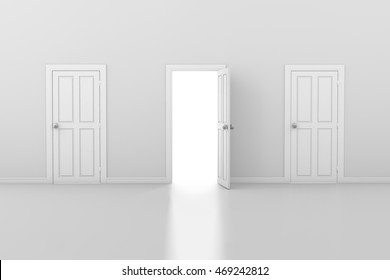 3d rendering of three doors one open and two closed : three doors - pezcame.com