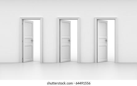 3d rendering of three open doors