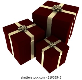3d rendering of three presents wrapped in red paper with golden bows isolated on a white background.