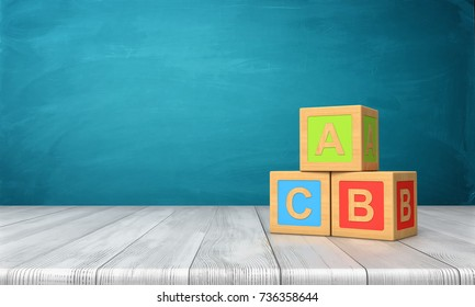 3d rendering of three toy blocks of different colors with letters A, B and C on them standing on a wooden desk. Alphabet and literacy. Learning letters. Toy blocks.