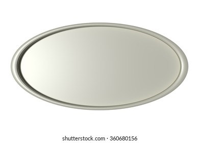 3d rendering of a three-dimensional silver round frame circle on white background. Isolated