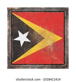 3d rendering of a Timor-Leste flag over a rusty metallic plate wit a rusty frame. Isolated on white background.