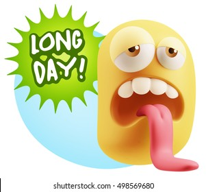 3d Rendering Tired Character Emoticon Expression saying Long day with Colorful Speech Bubble.
