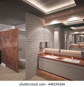 3d rendering of a toilet hall interior design