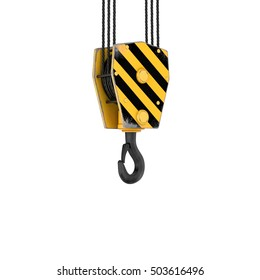 3d rendering of a tower crane hook isolated on the white background. Building and construction. Machinery and equipment.