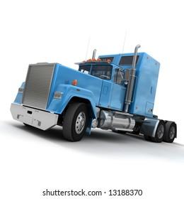 3D rendering of a trailer truck in blue