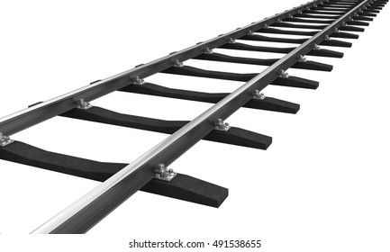 3d rendering of train rail isolated over white background