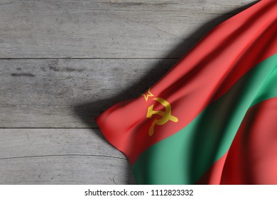 3d rendering of Transnistria flag over a wooden surface
