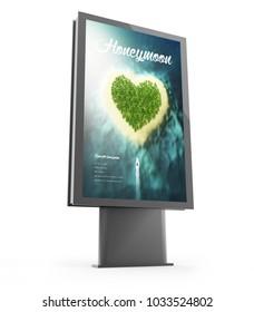 3d rendering of a travel advertising billboard