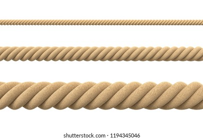 3d rendering of tree strings of rope of different thickness in straight lines isolated on a white background. Packing materials. Lifting and pulling gear. Life line.