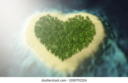 3d rendering of tropical island in the form of heart
