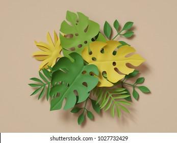 3d rendering, tropical paper leaves bouquet, papercraft, green monstera palm leaf, jungle background, foliage, botanical paper art, natural wallpaper