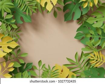 3d rendering, tropical paper leaves frame, papercraft, green monstera palm leaf, jungle background, blank banner, foliage, botanical paper art, natural wallpaper