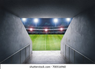 3d rendering tunnel in stadium with football field