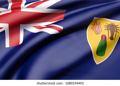 3d rendering of Turks and Caicos Islands flag waving